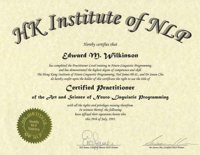 NLP Certified Practitioner HKiNLP | Ed Love Coaching